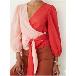 Anthropologie x Farm Rio Colorblocked Wrap Blouse